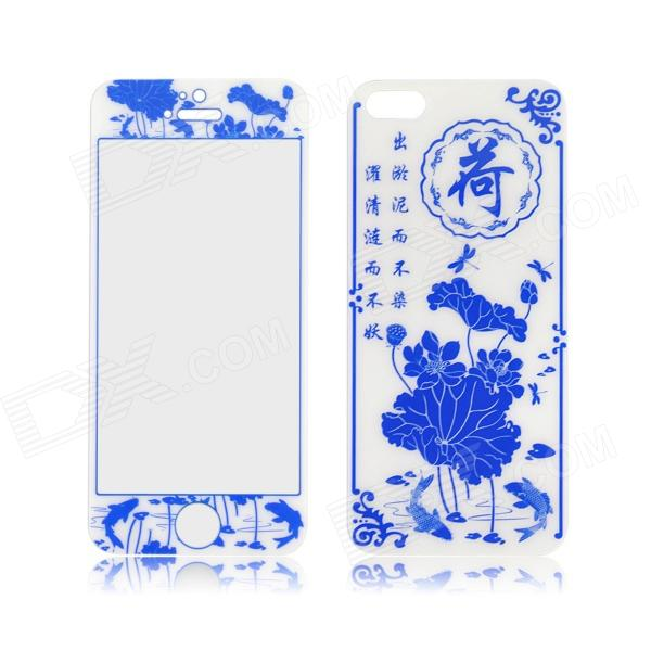 Angibabe 2 in 1 Lotus Pattern Front and Back Tempered Glass Protector for IPHONE 5 / 5S - Blue protective 9h tempered glass full screen guard protector back sticker for iphone 6 golden