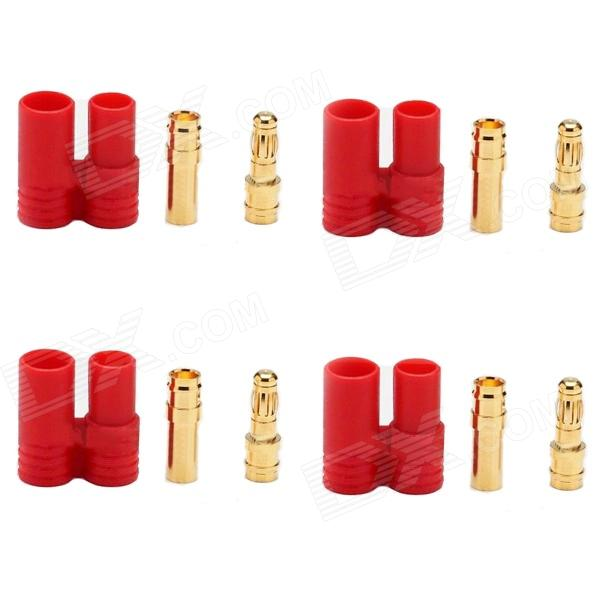 DIY 3.5mm Gold Plated Banana Plug Connector for Fixed Wing R/C Aircrafts - Golden + Red (4 Sets) areyourshop hot sale 50 pcs musical audio speaker cable wire 4mm gold plated banana plug connector