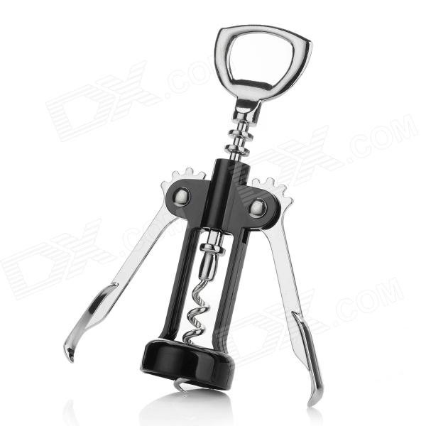 SW-M003 Zinc Alloy + ABS Wing Corkscrew - Black + Silver