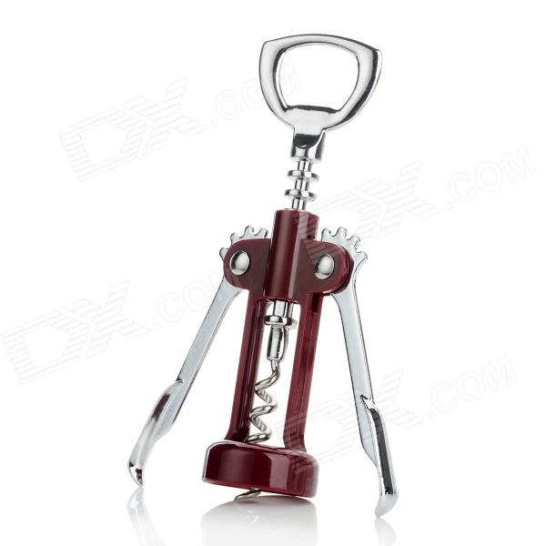 SW-M003 Zinc Alloy + ABS Wing Corkscrew - Burgundy + Silver