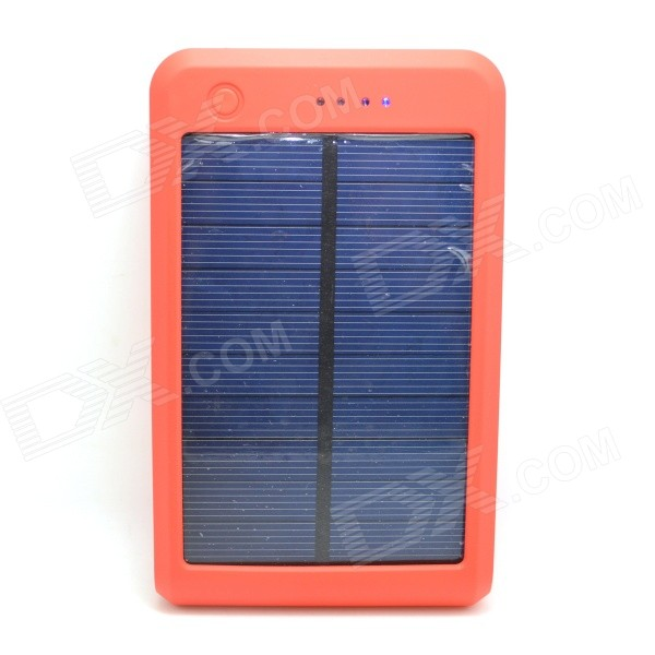 Portable 15000mAh Li-polymer Battery Dual-USB Solar Powered Power Bank w/ LED Indicator - Orange sony cp s15 s 15000 mah