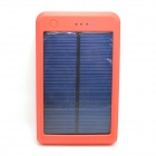 "Portable ""15000mAh"" Li-polymer Battery Dual-USB Solar Powered Power Bank w/ LED Indicator - Orange"