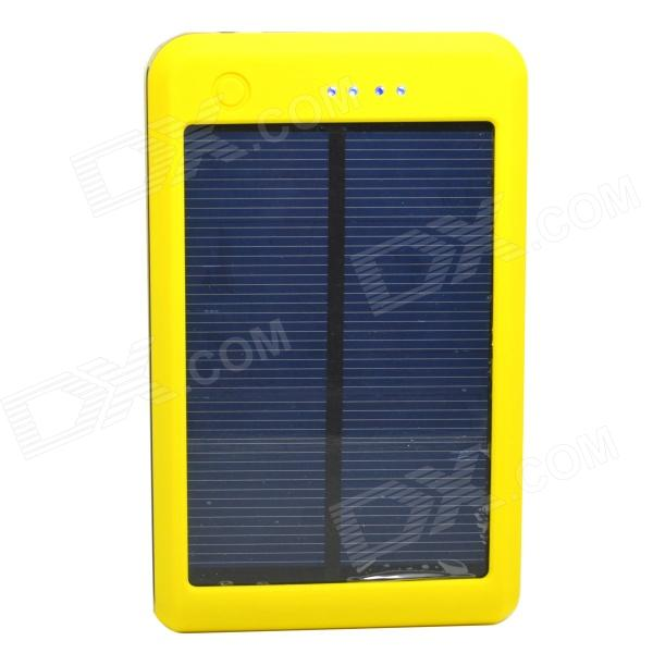 Portable 15000mAh Li-polymer Battery Dual-USB Solar Powered Power Bank w/ LED Indicator - Yellow sony cp s15 s 15000 mah