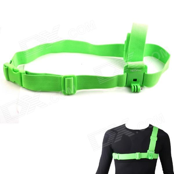 NEOpine Chest Strap Belt Shoulder Harness Mount for Gopro Hero 4/ 3+ / 3 / 2 - Green gopro accessories head belt strap mount adjustable elastic for gopro hero 4 3 2 1 sjcam xiaomi yi camera vp202 free shipping