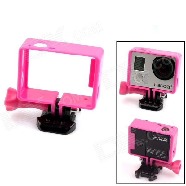 PANNOVO Protective Plastic Side Frame w/ Screws + Push Buckle for Gopro Hero 4/ 3 / 3+ - Deep Pink