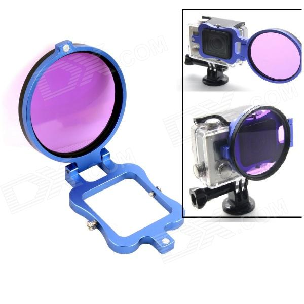 PANNOVO G-556 58mm Dive Color-Correction Filter w/ Flip Converter for GoPro Hero 3+ - Purple + Blue justone j049 professional underwater dive filter converter for gopro hero 4 3 black red