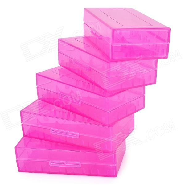 PP 18650 / CR123A / 16340 / CR2 / 15270 Batteries Storage Cases - Translucent Purple (5 PCS)