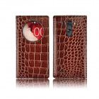 Angibabe Crocodile PU ultratynne View Window Smart Leather Case for LG G3 - Brun