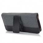 "Universal Protective Flip Open 5.5"" Plover Grain PU Waist Bag Case for Mobile Phone - Black"