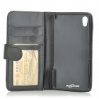 Protective Flip-Open PU Leather Case w/ Card Slots / Stylus for Sony Xperia Z2 - Black