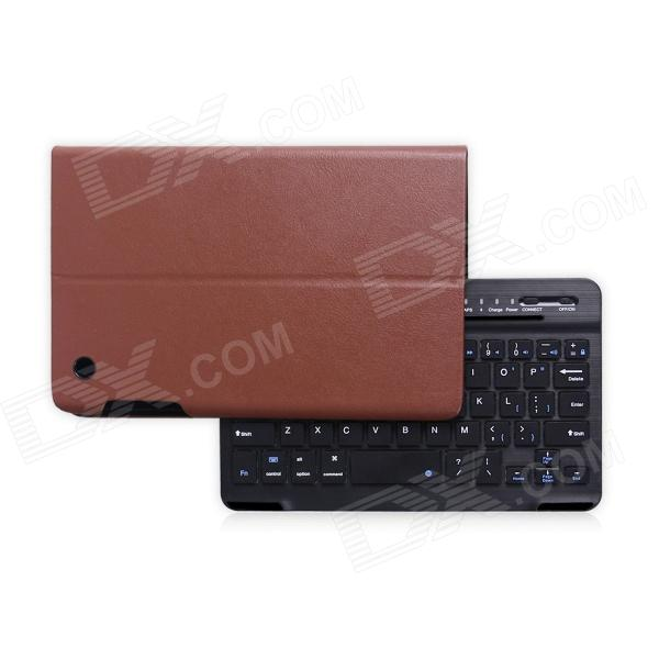 B.O.W Detachable Bluetooth V3.0 Keyboard With PU Leather Case for IPAD MINI 1 / 2 - Black + Brown