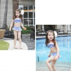 HJ-21 Girls' Lovely Bowknot Swim Suit Set - Blue + White (XS)