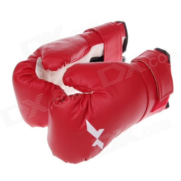 Professional Fighting / Boxing PU Leather Gloves - Red + White (Pair)