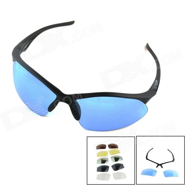 OUMILY Outdoor Cycling Sunglasses Goggles w/ Replaceable Lens Kit - Blue + Black