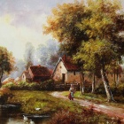 "Iart DX-071603 Hand-painted + Printing ""Village Landscape"" Oil Painting - Green + Yellow (30 x 70cm)"