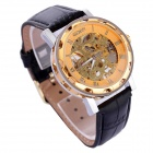 GX01 Stylish PU Leather Band Skeleton Dial Analog Mechanical Wrist Watch - Golden + Black