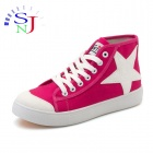 Women's High-top Star Icon Canvas Casual Shoes - Deep Pink + White (European Size: 38 / Pair)
