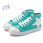 Women's Stylish High-top Star Icon Canvas Casual Shoes - Green + White (European Size: 37 / Pair)