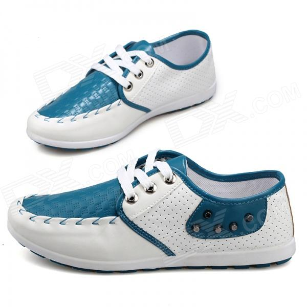 SNJ Fashionable Breathable Causal PU Leather Shoes for Men - Blue + White (Size 43) fashionable personality cardigan for men black white navy blue size xl