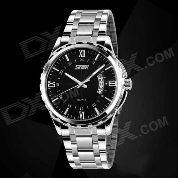 SKMEI 9069 Men's Waterproof Quartz Analog Wristwatch w/ Calendar - Silver + Black (1 x LR626)