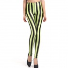 ElonboY1C12 Women's Stripe Patterned Tight-fitting Leggings - Black + Fluorescent Green