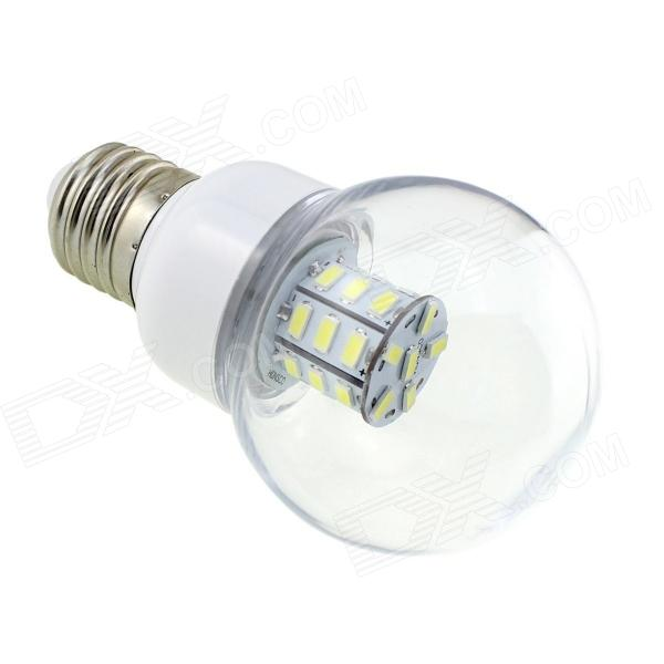 HONSCO E27 3W 200lm 6500K 27-SMD 5730 LED Cool White Light Bulb - White + Silver (AC/DC 12~24V) - DXE27<br>Built-in low voltage power supply; Energy-saving; Low power consumption; Suitable for solar room car yacht and outdoor exploration lighting<br>