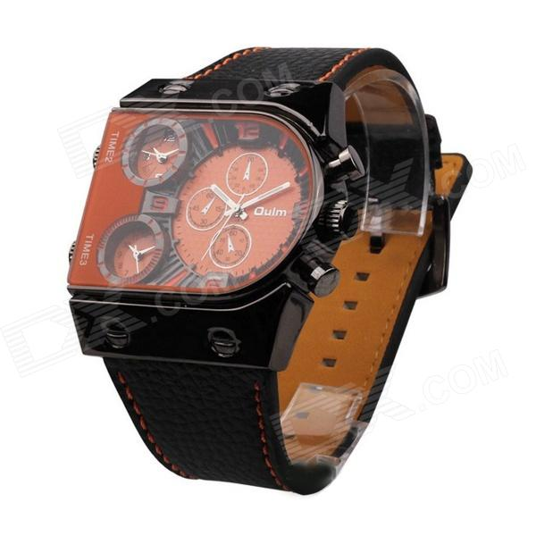 OULM LM-003 Men's Sports Big Dial PU Band Analog Quartz Wrist Watch - Orange + Black (1 x 377) pentagon dial five movement men s sports analog quartz wrist watch black silver 5 x 377 page 7