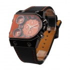 OULM LM-003 Men's Sports Big Dial PU Band Analog Quartz Wrist Watch - Orange + Black (1 x 377)