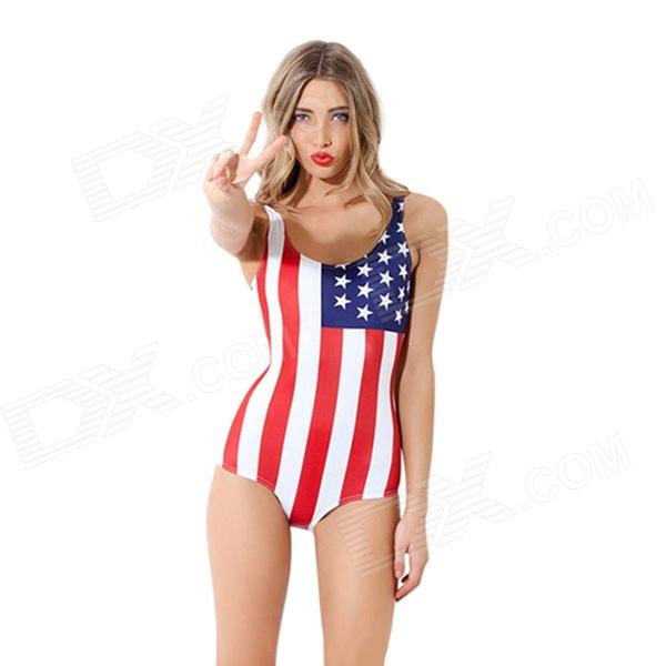 Women's Sexy US Flag Pattern One-Piece Dacron Swimsuit Swimwear - Blue + White + Red (Free Size)