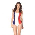 Women's Sexy French Flag Pattern One-Piece Dacron Swimsuit Swimwear - Blue + White + Red (Free Size)