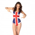 Women's Sexy UK Flag Pattern One-Piece Dacron Swimsuit Swimwear - Blue + White + Red (Free Size)
