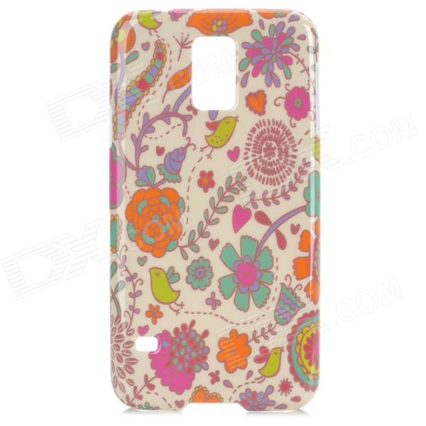 Protective Plastic Back Case for Samsung Galaxy S5 - White + Blue + Multi-Colored cm001 3d skeleton pattern protective plastic back case for samsung galaxy s4