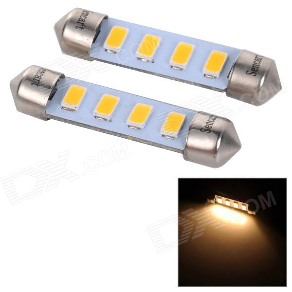 SENCART Festoon 42mm / 41mm 1W Warm White 60lm 3500K 4-SMD 5730 LED License Plate Lamp (2 PCS)