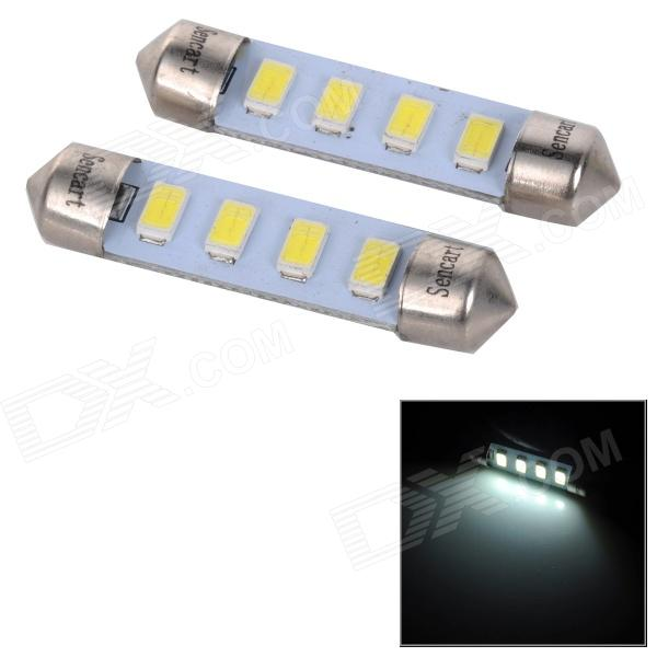 SENCART SV8.5-8 1W 40lm 6500K 4-SMD 5730 LED White Light Car Lamp - White (2PCS / DC 12~16V) sencart sv8 5 8 1w 40lm 9500k 5730 smd led cool white light car roof reading lamp 2pcs dc12 16v