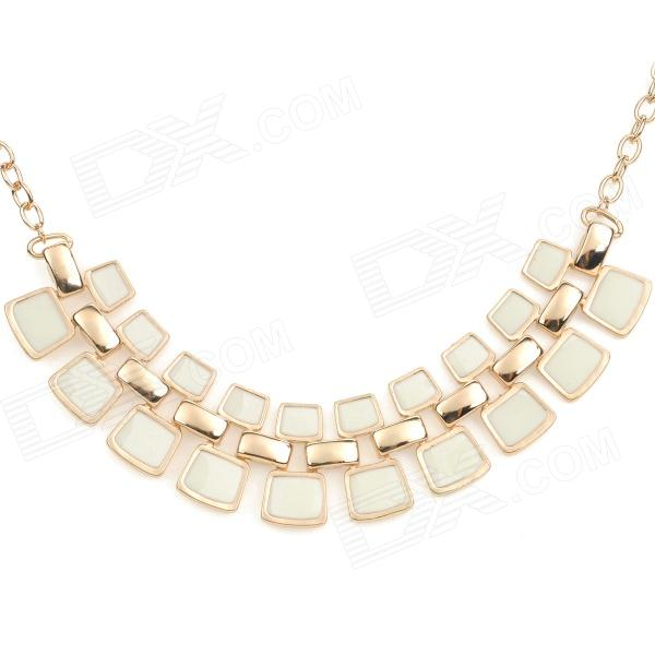 NC-7309 Bohemia Style Fashionable Zinc Alloy Pendant Necklace for Women - White + Golden elegant crystal drill zinc alloy chain pendant necklace for women golden translucent white