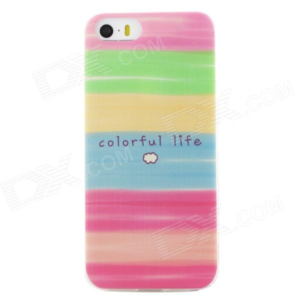 Ultra Thin Colorful Life Back Case Cover for IPHONE 5 / 5S - Pink + Multicolored ultra thin embossed flower pattern protective tpu back case for iphone 5 5s white light pink
