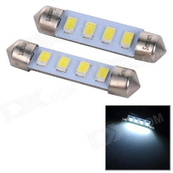 SENCART SV8.5-8 1W 40lm 9500K 4-SMD 5730 LED Cool White Light Car Lamp - White (2PCS / DC 12~16V) sencart sv8 5 8 1w 40lm 9500k 5730 smd led cool white light car roof reading lamp 2pcs dc12 16v