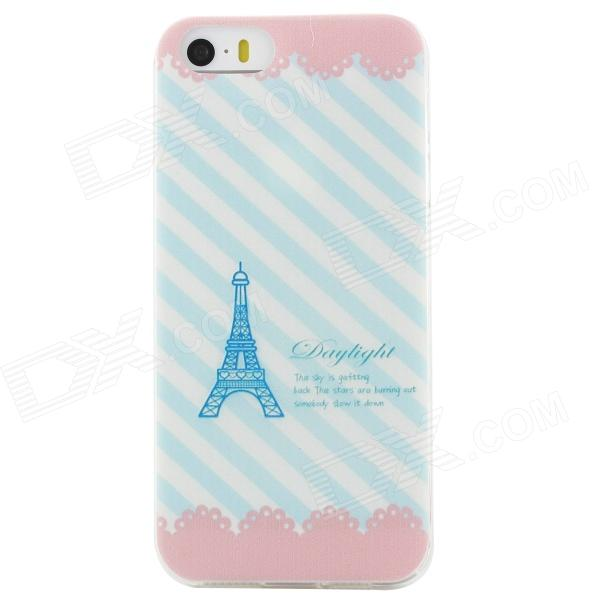 Ultra Thin Eiffel Tower Pattern Back Case Cover for IPHONE 5 / 5S - White + Blue ultra thin embossed flower pattern protective tpu back case for iphone 5 5s white light pink