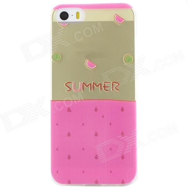 Ultra Thin Summer Watermelon Back Case Cover for IPHONE 5 / 5S - Transparent + Pink s what protective tpu back case w anti dust plug for iphone 5 5s transparent purple