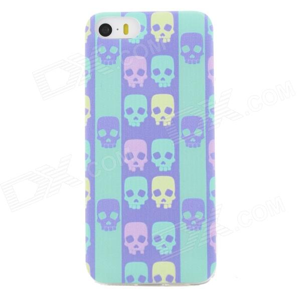 Ultra Thin Skull Pattern Back Case Cover for IPHONE 5 / 5S - Cyan + Multicolored mercury goospery flash powder gel tpu case cover for iphone se 5s 5 cyan