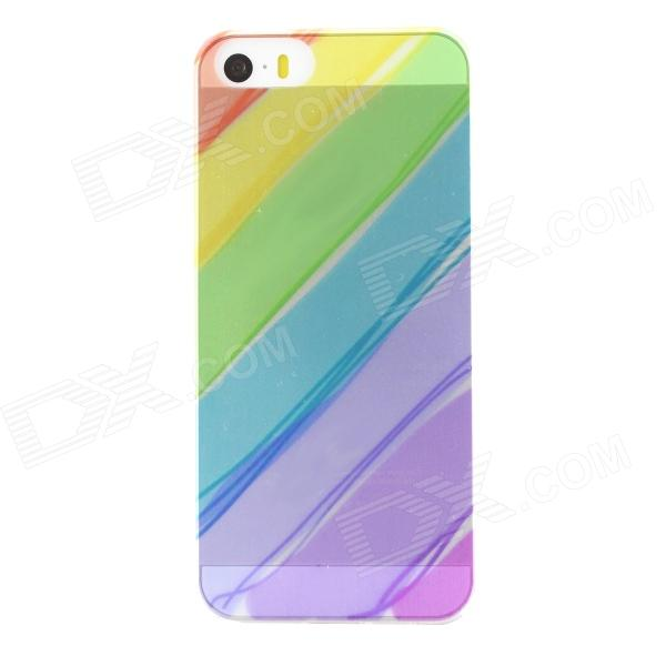 Ultra Thin Rainbow Color Back Case Cover for IPHONE 5 / 5S - Transparent + Multi-color s what protective tpu back case w anti dust plug for iphone 5 5s transparent purple