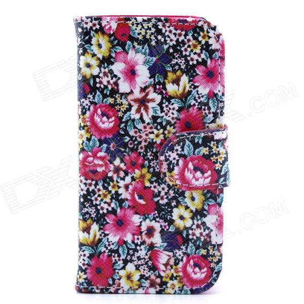 Flower Pattern Flip-open PU Leather Case with Stand and Card Slot for IPHONE 4 / 4S - Black + Color stand leather case for iphone 6 plus 6s plus 5 5 inch with card slot dark blue