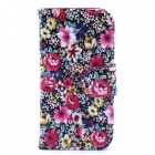 Flower Pattern Flip-open PU Leather Case with Stand and Card Slot for IPHONE 4 / 4S - Black + Color