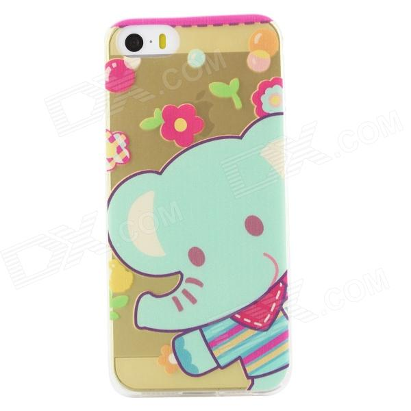 Ultra Thin Cute Elephant Back Case Cover for IPHONE 5 / 5S - Transparent + Multicolored - DXTPU Cases<br>Color Transparent + Green Brand N/A Model N/A Quantity 1 Piece Material TPU Shade Of Color Transparent Compatible Models IPHONE 5SIPHONE 5 Design Mixed ColorTransparentMatteGraphicGraffitiCartoonWith Anti Dust Plug Style Back Cases Packing List 1 x Back case<br>