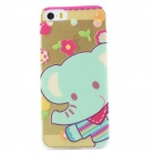 Ultra Thin Cute Elephant Back Case Cover for IPHONE 5 / 5S - Transparent + Multicolored