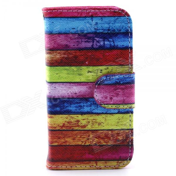 Rainbow Design Full Body Case with Stand and Card Slot and Money Holder for IPHONE 4 / 4S telephone box pu leather full body case with stand and card slot and money holder for iphone 4 4s