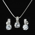 ROXI Fashionable Copper + Zircon Earrings + Necklace Set for Women - Silver