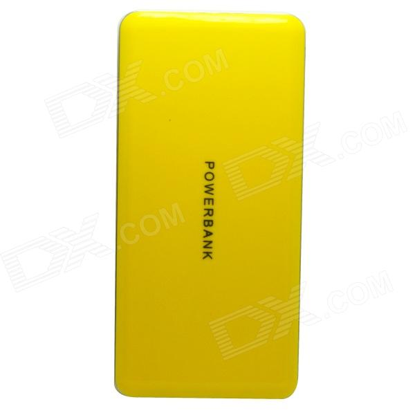 Universal ''20000mAh'' Portable Dual USB Mobile Power Bank - Yellow + Silver universal 20000mah portable li polymer battery dual usb power bank green silver