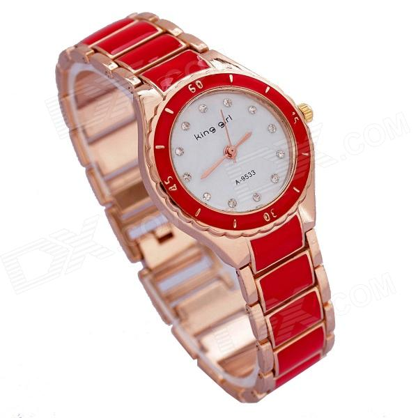 Women's Stylish Zinc Alloy Band Quartz Analog Wrist Watch - Golden + Red (1 x 626)