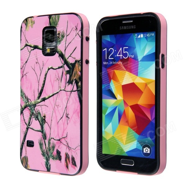 Tree Branch Pattern Protective Plastic Back Case for Samsung Galaxy S5 - Pink + Green cm001 3d skeleton pattern protective plastic back case for samsung galaxy s4